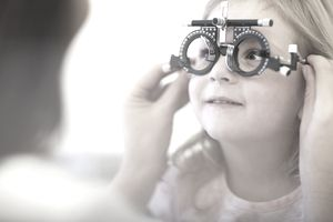 pediatric eye exam - girl at eye doctor