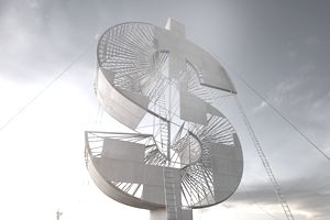 Ladders leaning on enormous dollar sign under construction