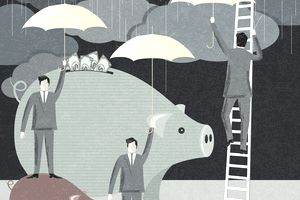 Illustration of men in suits holding umbrellas over their investment piggy banks to preserve their capital.