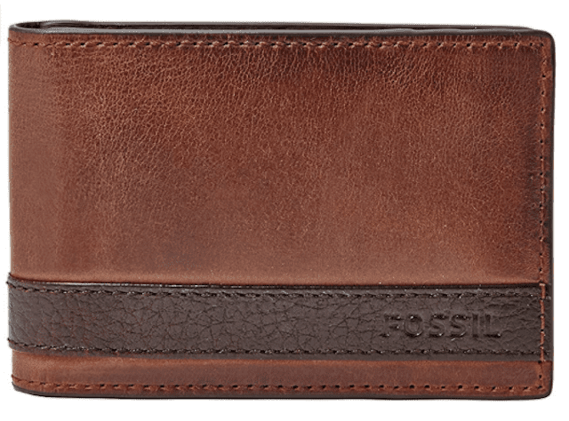 Fossil Leather Quinn Money Clip Bifold Wallet