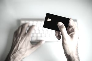 A man using credit card, online shopping / electronic banking