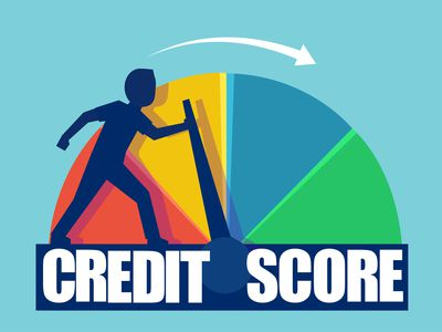 Credit score concept. Vector of a man pushing scale changing credit information for a car loan from poor to good.