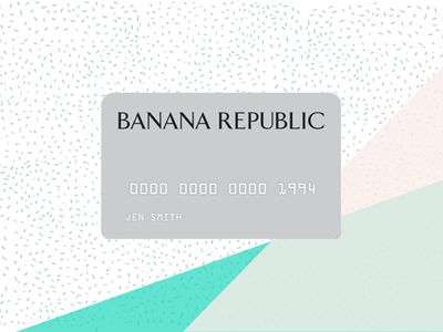The face of the Banana Republic Credit Card on a tri-color background.