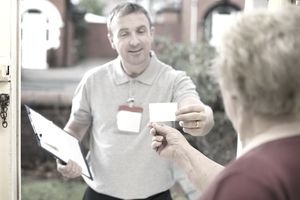 Debt collector at woman's house