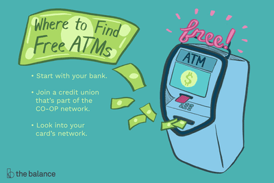 Illustration showing tips for where to find free ATMs