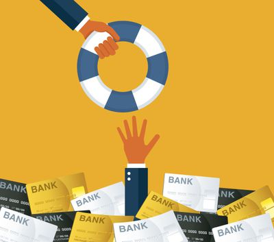 Illustration of a hand reaching out from under bank loan statements for a lifesaver