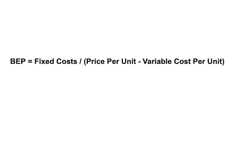 Break-even point equals fixed costs divided by the difference between the price per unit and the variable cost per unit