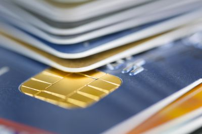 Close up of credit card security chip