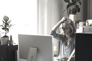 a woman using computer