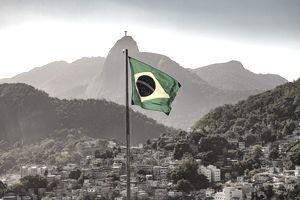 Brazilian flag and Corcovado
