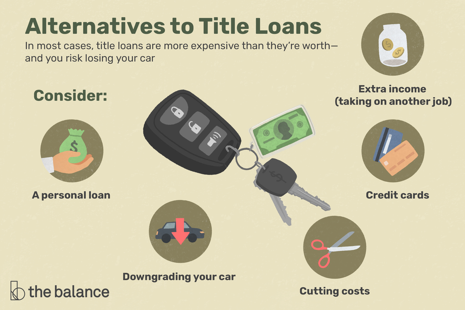 "Image shows a set of car keys. Text reads: ""Alternatives to Title Loans: in most casts, title loans are more expensive than they're worth–and you risk losing your car. Consider: a personal loan, downgrading your car, cutting costs, credit cards, extra income (Taking on another job)"