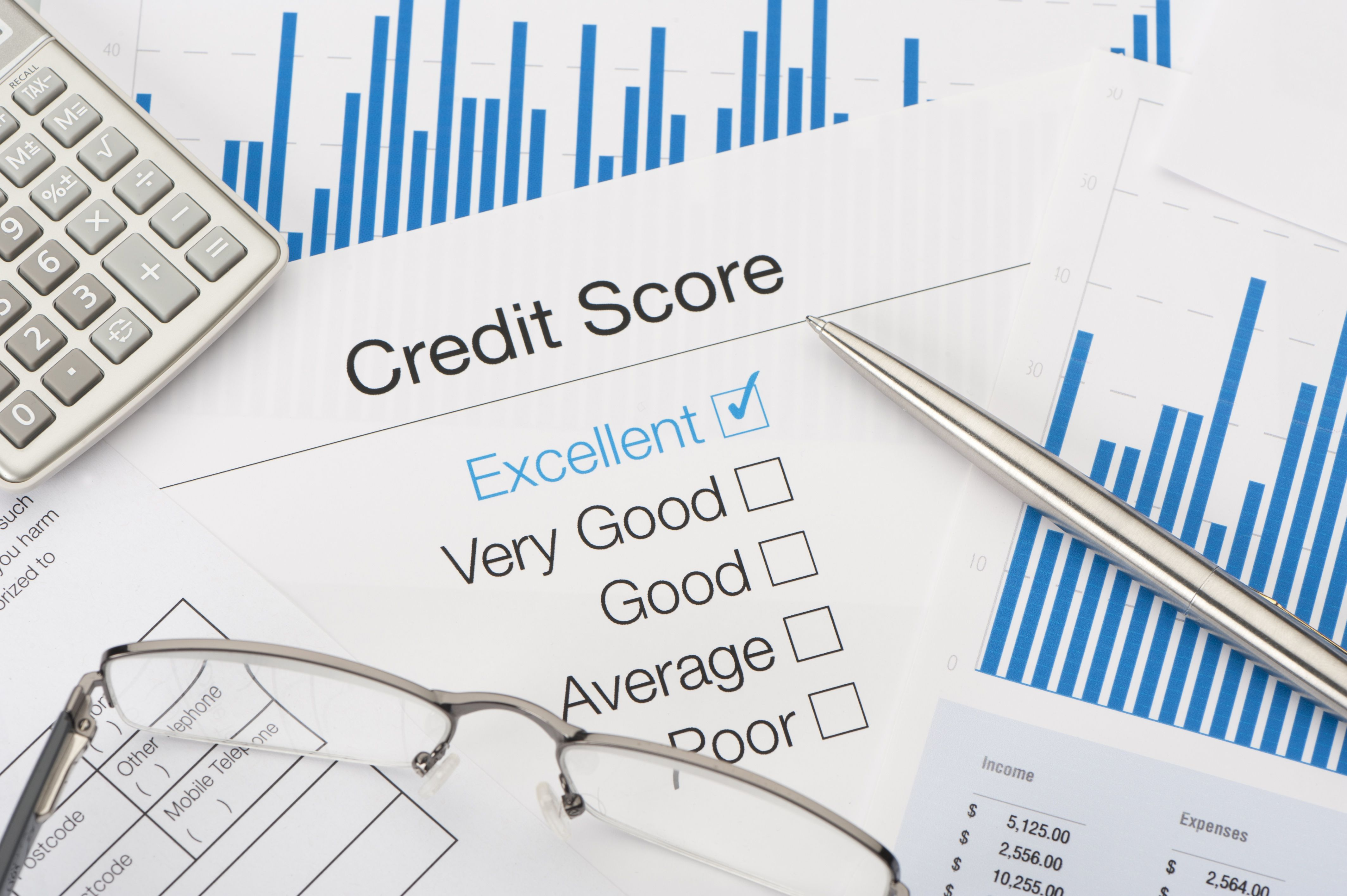 Sheet with credit score check boxes and